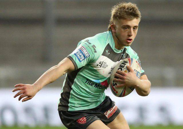 Perfect start: Mikey Lewis scored two tries on his debut for York after joining on loan from Hull KR. Picture: Martin Rickett/PA Wire.