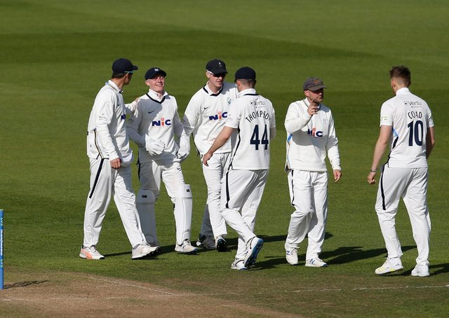Out: Yorkshire celebrate a Glamorgan wicket from Harry Duke's catch. Picture: John Heald