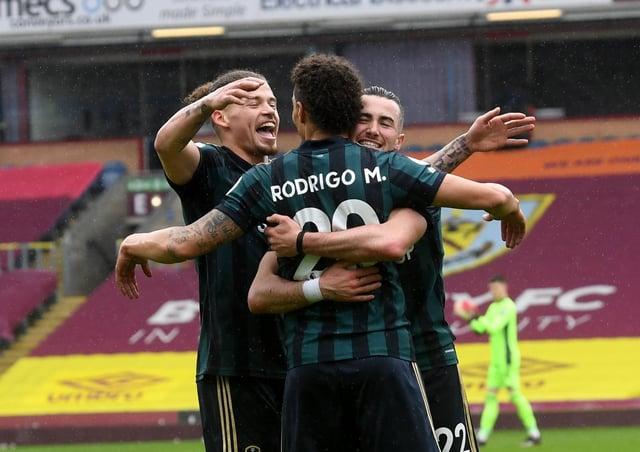 Goal: Rodrigo is congratualted after scoring the third. Picture: Simon Hulme