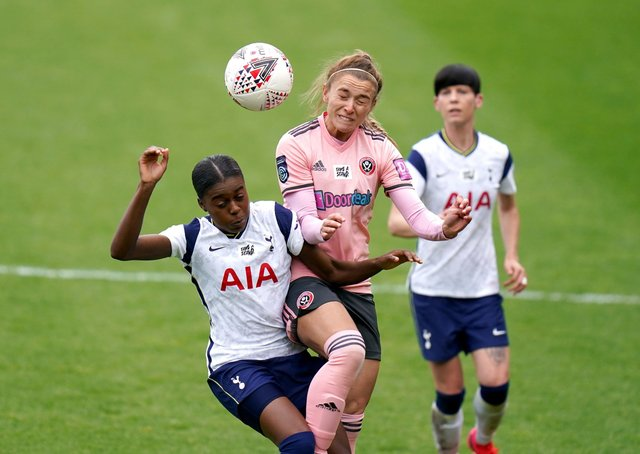 Tottenham Hotspur's Jessica Naz (left) and Sheffield United's Chloe Dixon battle for the ball. Pictures: Adam Davy/PA
