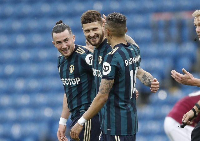 Take a break: The season is over for Mateusz Klich, centre, seen celebrating  scoring the first goal at Turf Moor. Picture: Darren Staples/ Sportimage