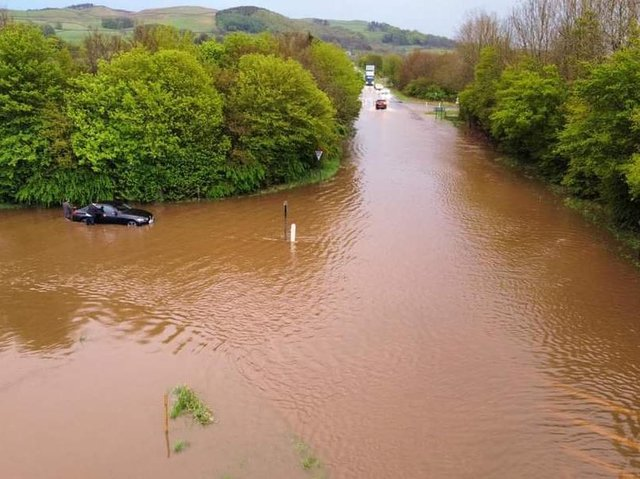 An abandoned car on the A65 near Giggleswick in an image shared by Bentham-based public safety officer Craig Lyons