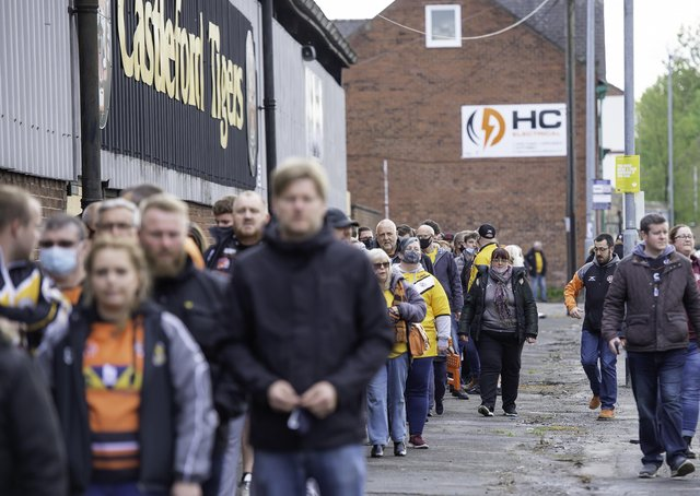 Fans return to Rugby League at Castleford as they play in front of fans for the first time since the Coronavirus pandemic struck in March 2020. Picture: Allan McKenzie/SWpix.com