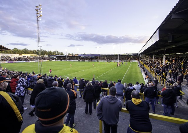 Back in the game: Fans look on at Castleford playing Hull KR with spectators coming back to rugby league for the first time since the Covid-19 pandemic started. Picture: SWPix