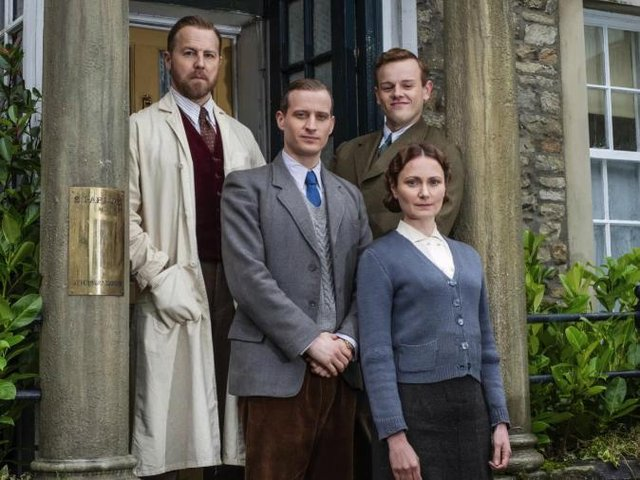 All Creatures Great and Small stars Samuel West (Siegfried Farnon), Callum Woodhouse (Tristan Farnon), Nicholas Ralph (James Herriot) and Anna Madeley (Mrs Hall)