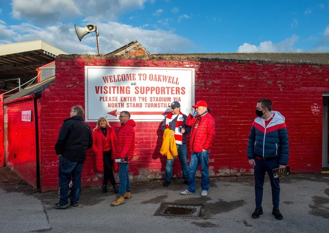 Fans back at Oakwell.   Picture Bruce Rollinson