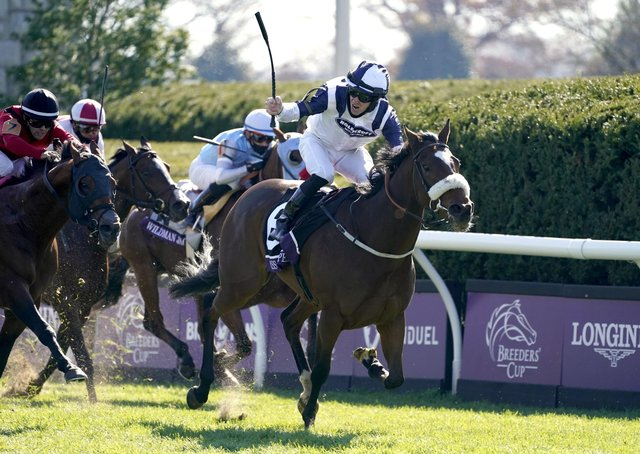 This was Yorkshire-trained Glass Slippers winning at the Breeders' Cup meeting in America last November under jockey Tom Eaves.