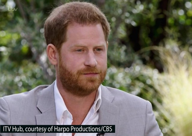 Screen grab photo supplied by ITV Hub courtesy of Harpo Productions/CBS showing the Duke of Sussex during his interview with Oprah Winfrey which was broadcast in the US on March 7 and in the UK on March 8.
