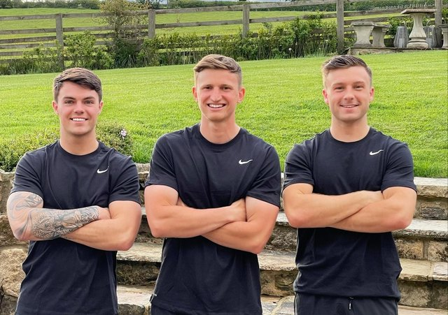 Left to right, Ollie Ward, Jeremy Butterfield and Henry Bartle will be running three marathons in three days in memory of their friend James Hindmarsh,