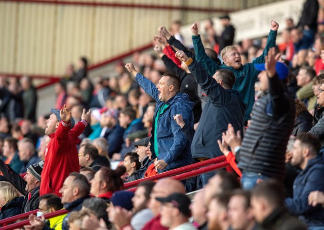 Fans back at Oakwell. Picture: Bruce Rollinson