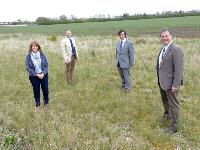 L-R Sue Bowser of Croftmarsh, Matt Warman MP, Cllr Tom Ashton and Neil Sanderson of Croftmarsh on the proposed Skegness Gateway site.
