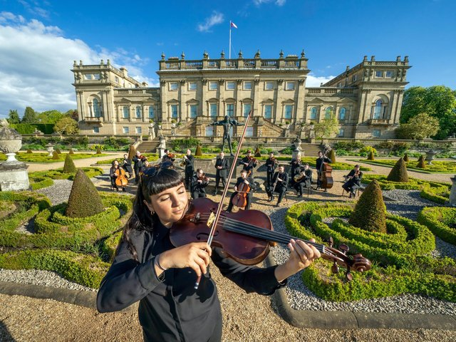 Sophia Dignam plays the Viola along with other members of the Yorkshire Symphony Orchestra at Harewood House, Leeds
