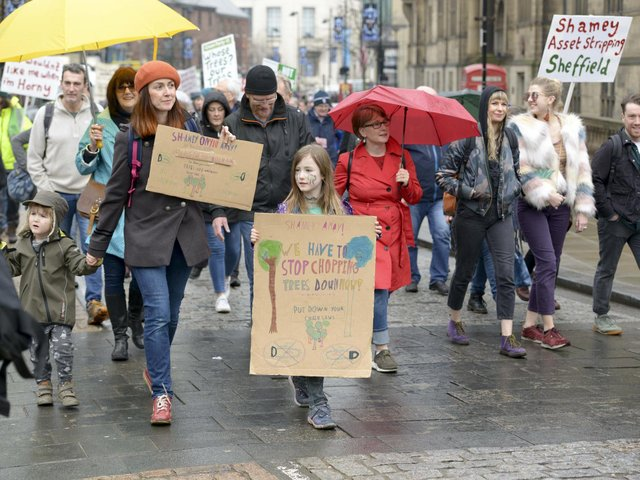 A protest against the council's tree-felling strategy in 2018. Picture: Dean Atkins.