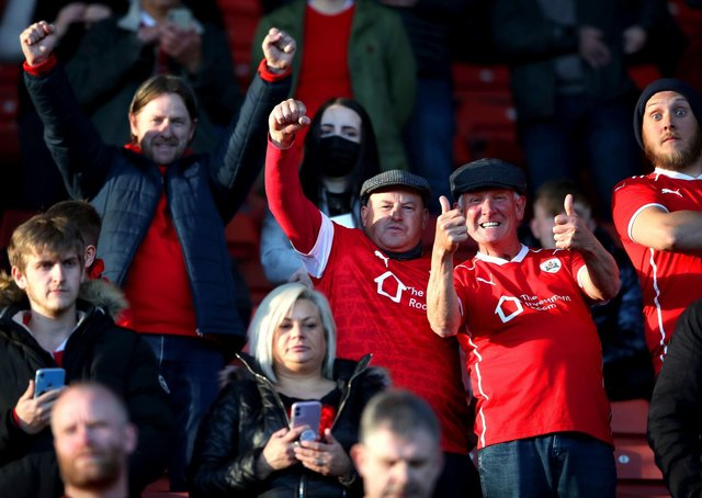 Back home: Barnsley fans in the stands. Pictures: PA