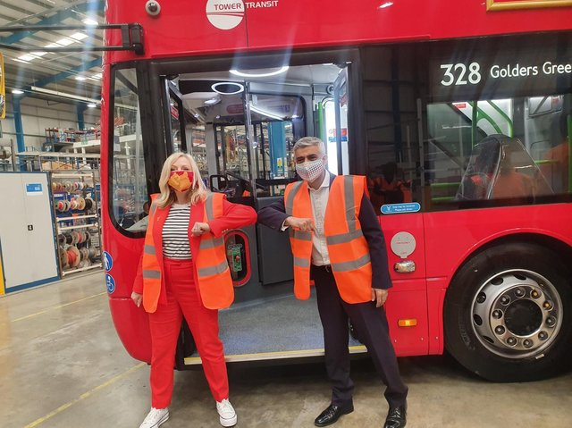 Tracy Brabin (Ieft) visited Switch Mobility in Sherburn-in-Elmet along with Sadiq Khan (right) to inspect the 30 electric buses being readied for delivery.