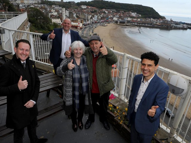 National Holidays' first customers arriving in Scarborough are greeted by the company's chief executive officer, Andy Freeth, and the Shadow Minister for Tourism and Heritage, Alex Sobel, following the start of group coach tours. Picture are (left to right) are James Mason, the chief executive of Welcome to Yorkshire, Andy Freeth, the chief executive officer of National Holidays, Maureen Earnshaw and Danny Henry from Huddersfield, and Alex Sobel, the Shadow Minister for Tourism and Heritage. (Picture: Gerard Binks)