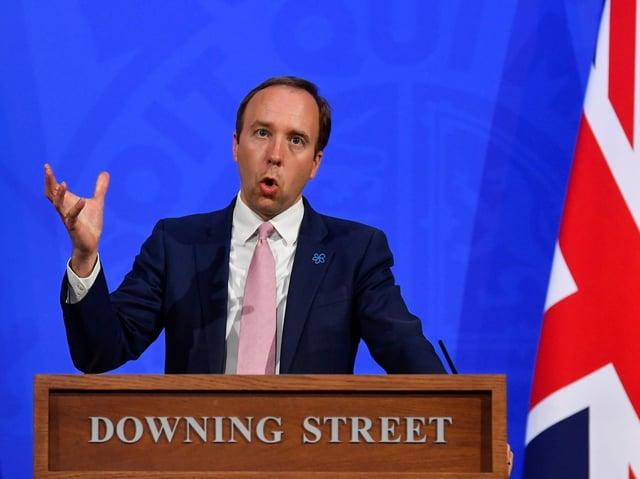 Health Secretary Matt Hancock during a media briefing in Downing Street, London, on Covid-19 on Wednesday May 19, 2021.