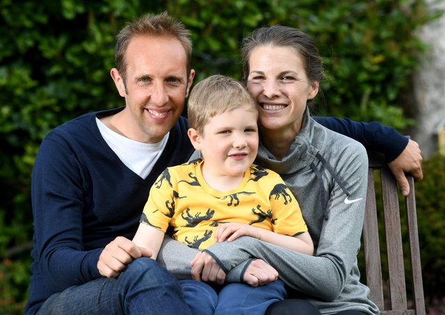 Joshua Collins who was diagnosed with Acute Lymphoblastic Leukaemia jst days after his granddad died of cancer, pictured with his mum Harriet and dad Ben at there home at Sheffield..Picture by Simon Hulme