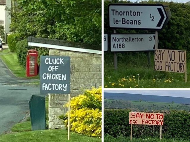Signs protesting against the planned egg farm have been placed around the area