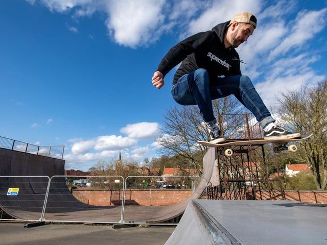 Skateboarder Ryan Swain, pictured at Malton skate park