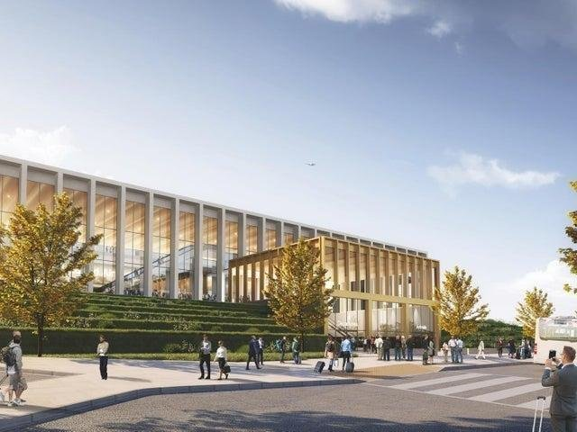 This is what the outside of the new terminal could look like, while a golden exterior and glass panelling (photo: Leeds Bradford Airport)