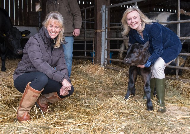 Liz Truss, the current International Trade Secretary (right), with NFU president Minette Batters.