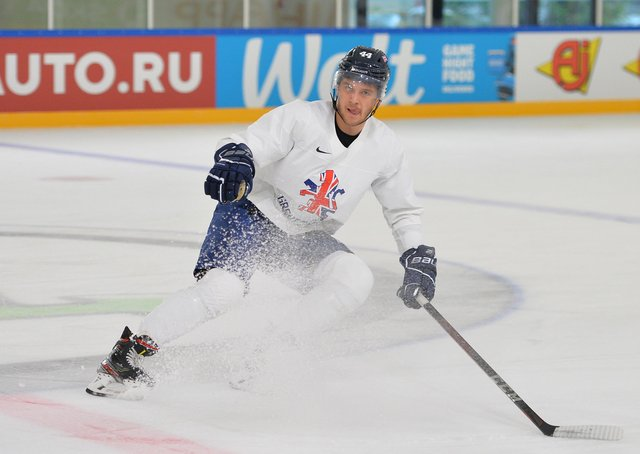 STOP RIGHT THERE: Sheffield Steelers and GB defenceman Sam Jones in practice in Riga earlier this week. Picture courtesy of Dean Woolley