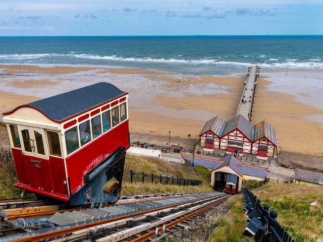 The famous Saltburn Cliff Tramway, a funicular railway system of two counterbalanced cars attached at the end of a long cable that goes from one car, up the slope, around a pulley, and back down to another car. Picture: James Hardisty.