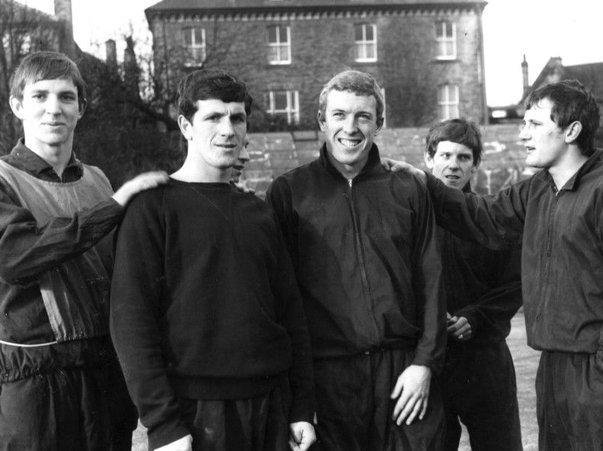 Len Badger (far right) pictured in 1966 with Sheffield United team-mates (from left) Mick Hill, Alan Woodward, Mick Jones and Bernard Shaw.