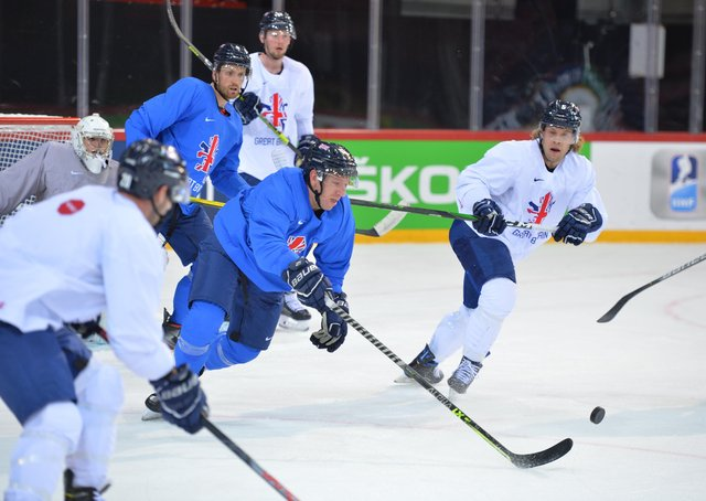 BIG DAY: GB and Sheffield Steelers' forward Brendan Connolly during practice in Riga this week. Picture: Dean Woolley.