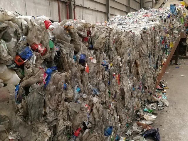 Plastic bottles preparing to be recycled