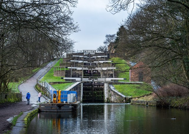 Bingley Five Rise Locks are a landmark on the canal network.