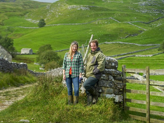 Farmers Leigh Weston and Neil Heseltine above Hill Top Farm in Malham