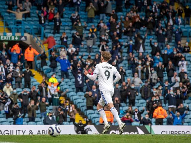PENALTY: Patrick Bamford celebrates after converting his spot kick