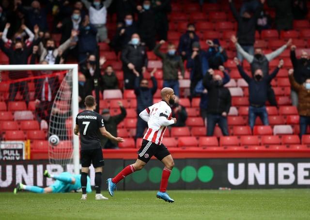 Sheffield United's David McGoldrick celebrates after scoring. Pictures: PA