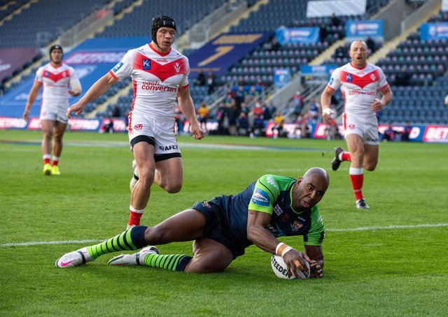 Over the line: Michael Lawrence was one of the Huddersfield try scorers in the win over Leigh.  Picture Bruce Rollinson