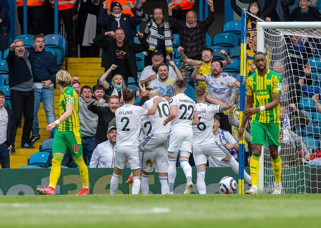 Rodrigo scores Leeds United's opening goal in front of the Elland Road supporters.  Picture Bruce Rollinson