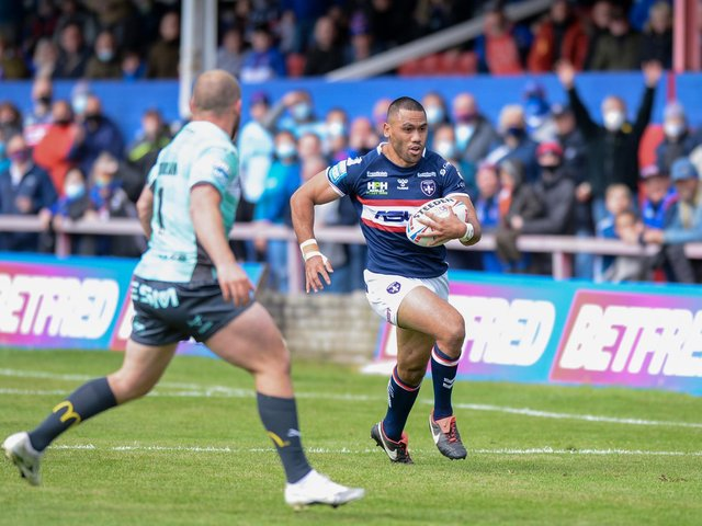 Wakefield Trinity's Biull Tupou on the charge against Hull KR (DEAN WILLIAMS)