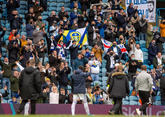 Fans and Pablo Hernandez at full time.  Picture Bruce Rollinson