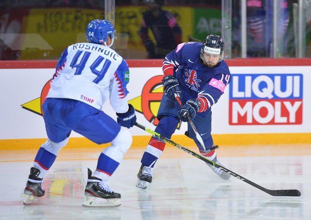 """BANG!"""" Liam Kirk fires in GB's second period equaliser against Slovakia in Riga. Picture courtesy of Dean Woolley."""