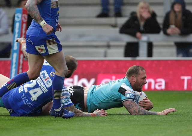 Josh the job: Hull FC's Josh Griffin scores during the Betfred Super League match against Leeds Rhinos. Picture:: Richard Sellers/PA Wire.