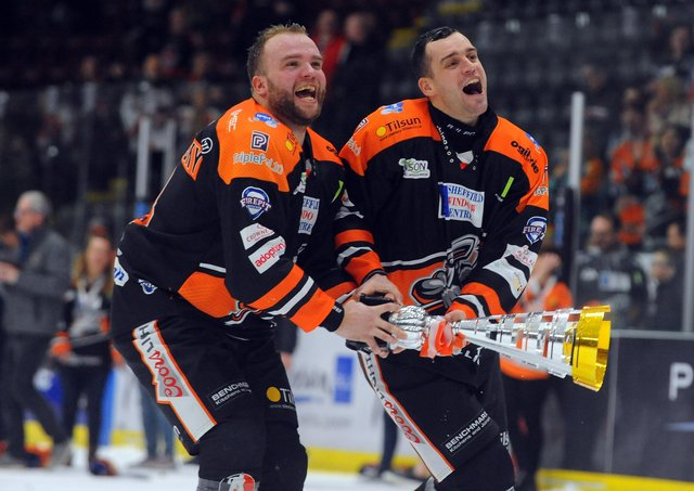 Marek Troncinsky, left, pictured celebrating Sheffield Steelers' Challenge Cup win with team-mate Tanner Eberle. Picture: Dave Williams.