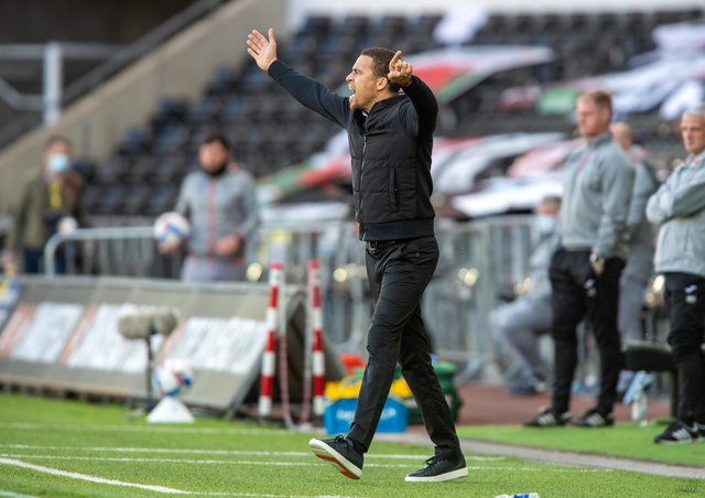 REFLECTION: Valerien Ismael issues instructions to his players at the Liberty Stadium on Saturday.  Picture: Bruce Rollinson