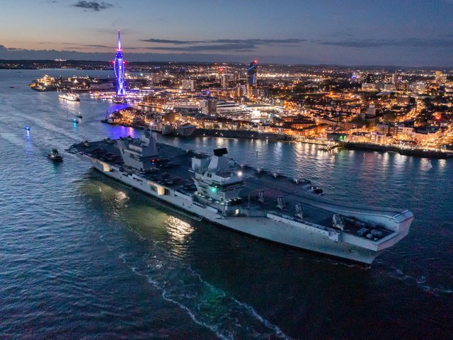 HMS Queen Elizabeth departing HMNB Portsmouth ahead of its maiden operational deployment. Picture: Shaun Roster / SWNS.COM.