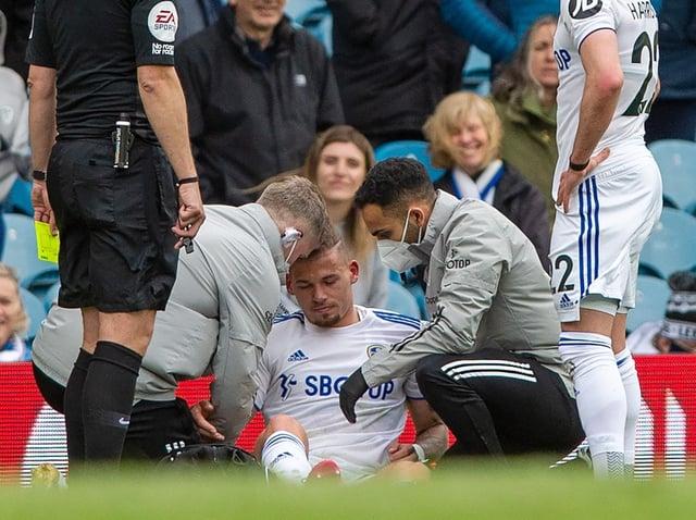 INJURY: Leeds United's Kalvin Phillips is treated