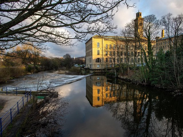 Saltaire from the Leeds-Liverpool canal