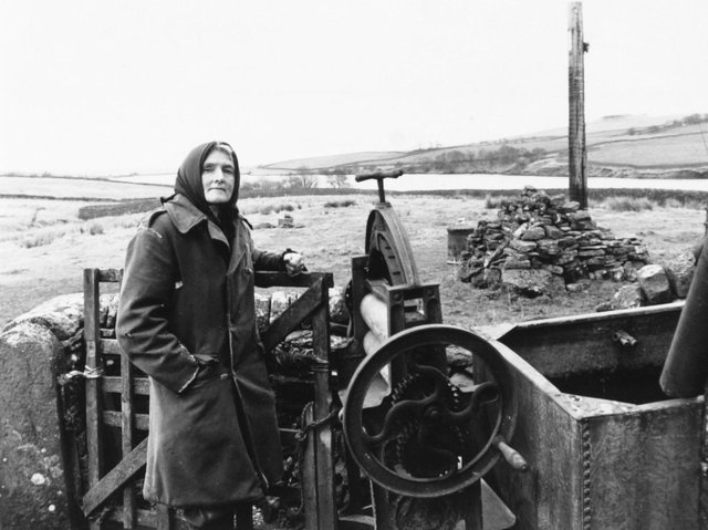 Hannah Hauxwell pictured here at Low Birk Hat on December 14 1988.