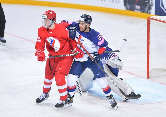Ben O'Connor battles in front of his net in the 7-1 defeat to Russia on saturday in Riga. Picture courtesy of Dean Woolley.