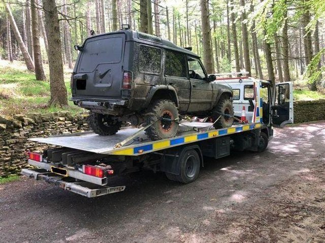 A Land Rover, modified for extreme off-roading, which was seized by police near Holmfirth. (Image: LDRS)