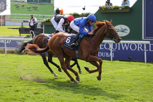 William Buick intends to stay loyal to hurricane Lane in the Cazoo Derby after winning the Al Basti Equiworld Dubai Dante Stakes at York on the colt. Photo: York Racecourse.
